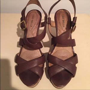 CIAO BELLA Ankle Strap Cork Wedge Brown Sandals